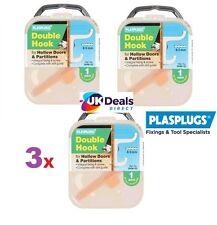 3 x PlasPlugs Doppio Accappatoio Vestaglia Gancio per Cavo Porte & partizioni