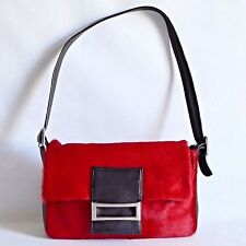 VIVA BAGS OF CALIFORNIA USA Red Hair Black Leather Shoulder Bag Satchel Handbag