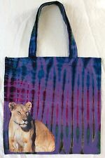 Small Square 36cm X 36cm Tye Dye Cotton Bag With Lioness  Picture