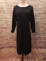 ANN TAYLOR Gray Merino Wool Drawstring Waist Dolman Sleeve Sweater Dress  Size L