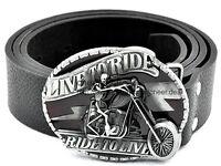 Mens RIDE TO LIVE Motorcycle Bike Skull Buckle Genuoine Leather Belt Biker Waist