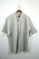 Columbia Men's Brown Blue Plaid Button Down Cotton Shirt XXL 2XL Flaw