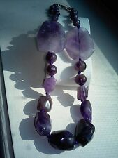 NATURAL ROUGH AMETHYST HAND KNOTTED WITH PURPLE THREAD 18.25 INCH NECKLACE