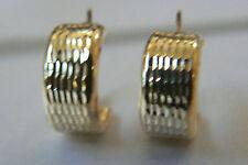 14k yellow gold hallmark diamond wave cut hoop earrings