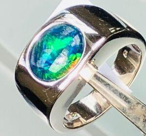 Cobalt Blue 100% Natural Solid Australian Black Opal Men Man Gents Ring 8 Green