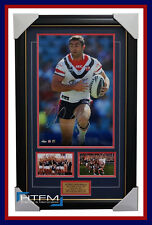 Anthony Minichiello Signed Sydney Roosters NRL Photo Framed 2013 PREMIERS + COA