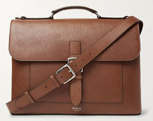 Mulberry Chiltern Pebble-Grain Leather Briefcase - Oak Brown