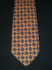 Brioni Blue Gold & Red Diamond Geometric Silk Tie, MI Italy
