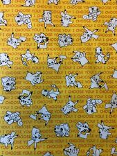 """Pokemon Fabric -  Yellow """"I Choose You"""" - by the fat eighth (9""""x21"""")"""
