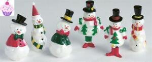 Cake Toppers 6 Mini Snowmen Christmas Decorations Yule Log Cupcake