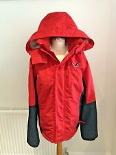 HOLLISTER WOMENS SHERPA LINED JACKET COAT RED & BLACK SIZE LARGE