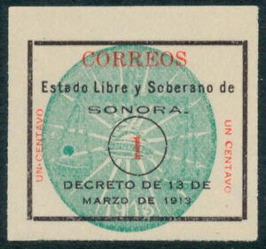by16 Mexico #336 1ctv Sonora Grn Seal Colorless Roulette, Mint NG Est VF