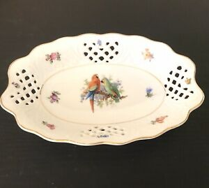 Vintage Parrots Lattice Bowl Dish - Arzberg Germany - 1950's Unused -VGC
