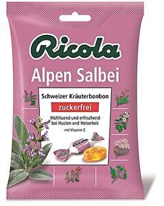 (2,13€/100g) 5 x Ricola Alpen Salbei Hustenbonbons ohne Zucker 75g = 375g