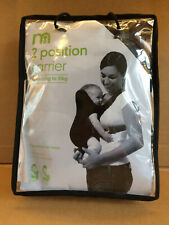Mothercare 2 Position Baby Carrier Grey 3.5kg to 10kg Cushioned 2 Bibs to 1 yr