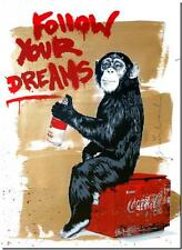 "BANKSY STREET ART CANVAS PRINT Follow your dreams monkey 18""X 12"" poster"
