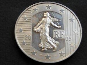 Belle et grosse pièce ARGENT de 1,5 Euros Semeuse de 2005