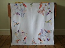 Vintage White Linen Tablecloth Hand Embroidered Crinoline Ladies Cottage Flowers