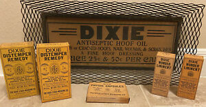 Antique DIXIE STOCK MEDICINE CO. SIGN BOXES ADVERTISING ARKANSAS VETERINARY LOT