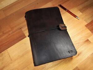 Traveler's Notebook Custom Leather Journal Diary Midori and A5 , book cover.
