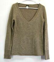J. Crew Women Medium V-Neck Alpaca Wool Gold Metallic Knit Sweater Top Brown
