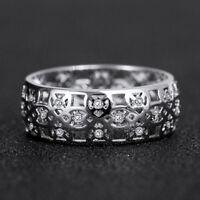 Fashion 925 Silver Women's Wedding Rings Round Cut White Sapphire Ring Size6-10