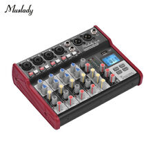 Mini 6Channel Bluetooth Audio Mixer Portable USB 48V Phantom Mixing Console new