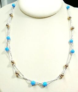 925 Sterling Silver Light Blue OPAL and GOLD FILLED Beads Two Strands NECKLACE