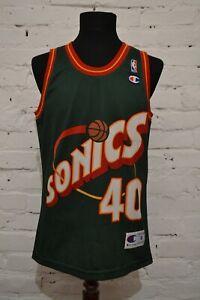 Vintage Champion Shawn Kemp Seattle Sonics Green Basketball NBA Jersey MENS S