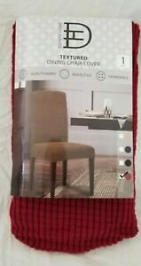 Dainty Home Textured Burgundy Dining Chair Cover Slipcover NIP