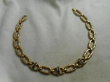 VINTAGE GOLD TONE OVAL LINK CHAIN NECKLACE W/ PRINCESS CUT RHINESTONE ACCENTS