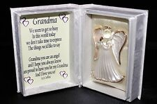 To Grandma on Mothers day gift crystal glass Angel box with poem message #5