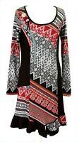 Joe Browns Aztec Boho Black Red White Long Sleeve Winter Tunic Dress UK 12