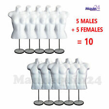 5 Female + 5 Male + 10 Stands + 10 Hooks - White Torso Dress Body Forms
