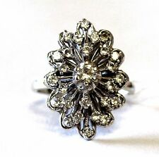 14k white gold cz cluster ring 8.3g vintage estate antique womans ladies fashion