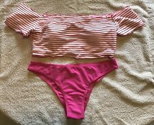 Women Sexy Bikini Set Striped Swimsuit Off Shoulder Size XL