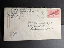 Uss Pawnee Atf-79 Naval Cover 1944 Censored Wwii Sailor's Mail w/ letter