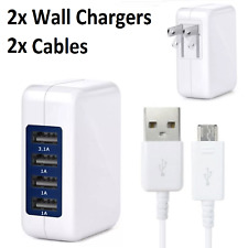 2x 4 Port USB Wall Charger 15W 3.1A Adapter + Micro USB Cable for Samsung Galaxy