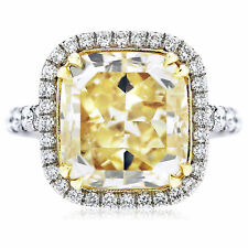 Platinum Engagement Ring GIA Certified 4.28 CT Fancy Yellow Cushion Cut Diamond