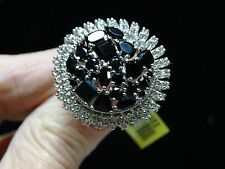 Black Spinel & Topaz Ring in Platinum Overlay 925 SS Sz 10 TGW 11.305 ~ON SALE~