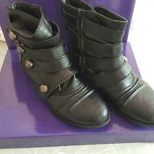 Madden Girl Ecker Black Pari Strappy Zip Ankle Boots Silver Buttons Leather 6M