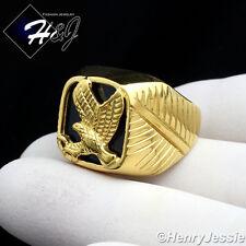 MEN's Stainless Steel Gold Black Onyx EAGLE Ring Size 8-13*GR79