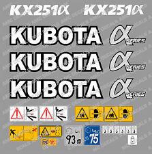 Kubota KX251 Mini bagger-aufkleber-aufkleber-satz mit sicherheit-warnzeichen