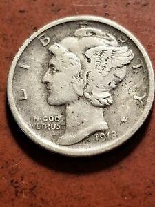 1918 D Mercury Silver Dime, tough date, full 4 digit year     INV07     DL744