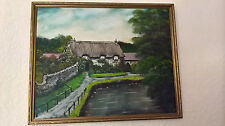 Oil Painting Thatched Cottage Thornton Le Dale Signed by Peter Dickinson