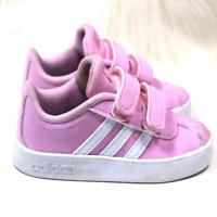Adidas baby kids pink white strap closure sneaker size 5K