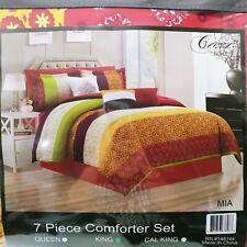 Lavish Home 7 Piece Comforter Set Mia Bedroom Set - King Floral Colorful