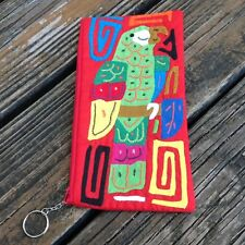 Vintage Red Appliqué Parrot Bird Mola Wristlet Purse Handmade Panama Kuna Indian