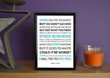 Framed - Coldplay - Fix You - Poster Art Print - 5x7 Inches