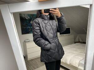 Doudoune parka chaude hiver mi longue noir duvet plumes Benetton L 38 40 42
